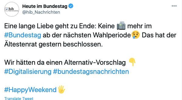 Bundestag Twitter Screenshot Faxgeräte
