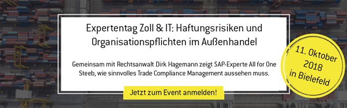 Anmeldung zum Expertentag Zoll und IT in Bielefeld