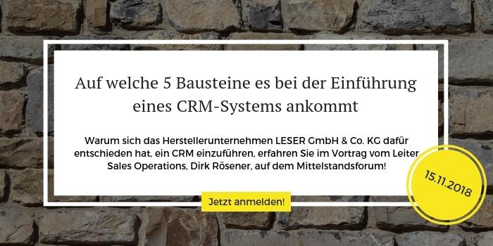 Mittelstandsforum 2018 Vortrag EinführungCRM System