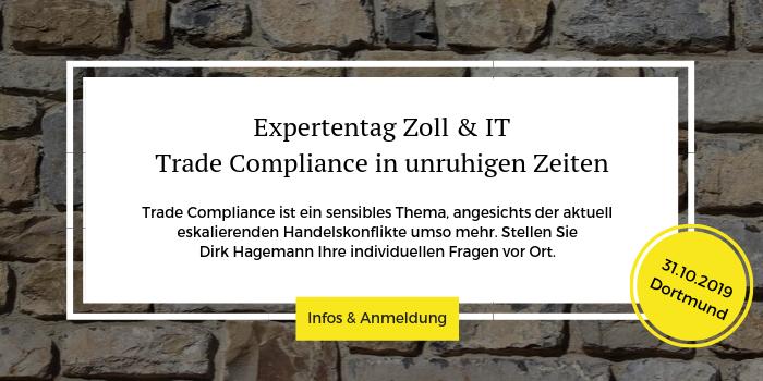Weitere Informationen zum Expertentag Zoll & IT am 31.10.2019 in Dortmund