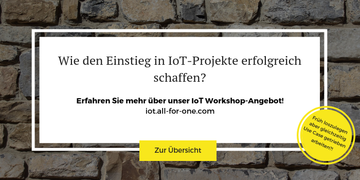 Anmeldung zu IoT und KI Workshops der All for One Group