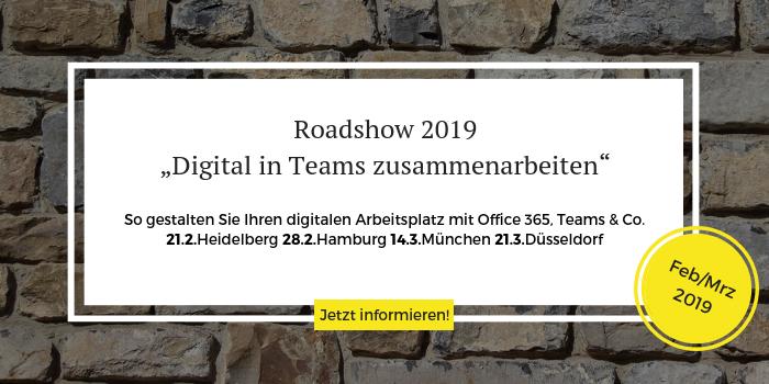 """Anmeldung zur Roadshow 2019 """"Digital zusammenarbeiten"""""""