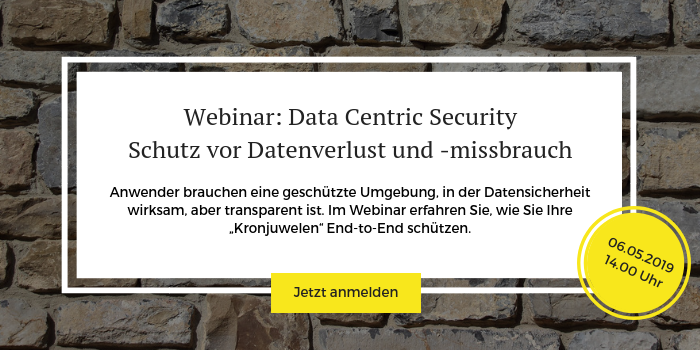 "Anmeldung zum Webinar ""Data Centric Security"""