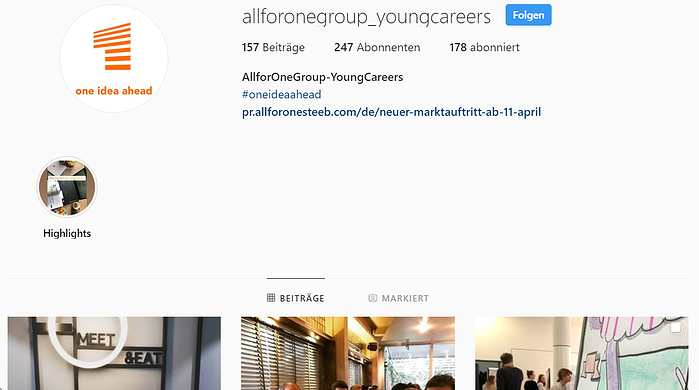 "Instagram-Kanal der ""Young Careers"" bei der All for One Group"