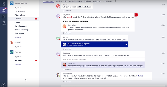 Screenshot: Zusammenarbeit in Microsoft Teams