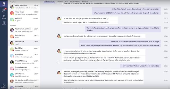 Screenshot: Planung der Mittagspause in Microsoft Teams