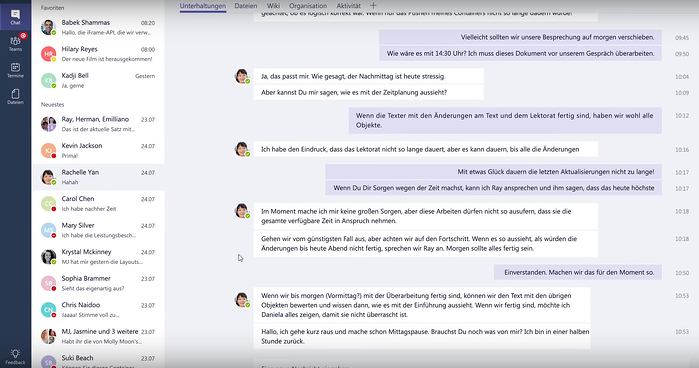 Screenshot: Planung der Mittagspause in Microsoft Teams