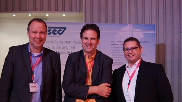 v.l.n.r.: Georg Varelmann (Varelmann Beratungsgesellschaft mbH), Frank van Bebber und René Graute (beide ISEC7 Software Ltd.)