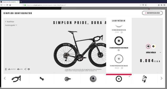 Online-Fahrradkonfigurator von Simplon