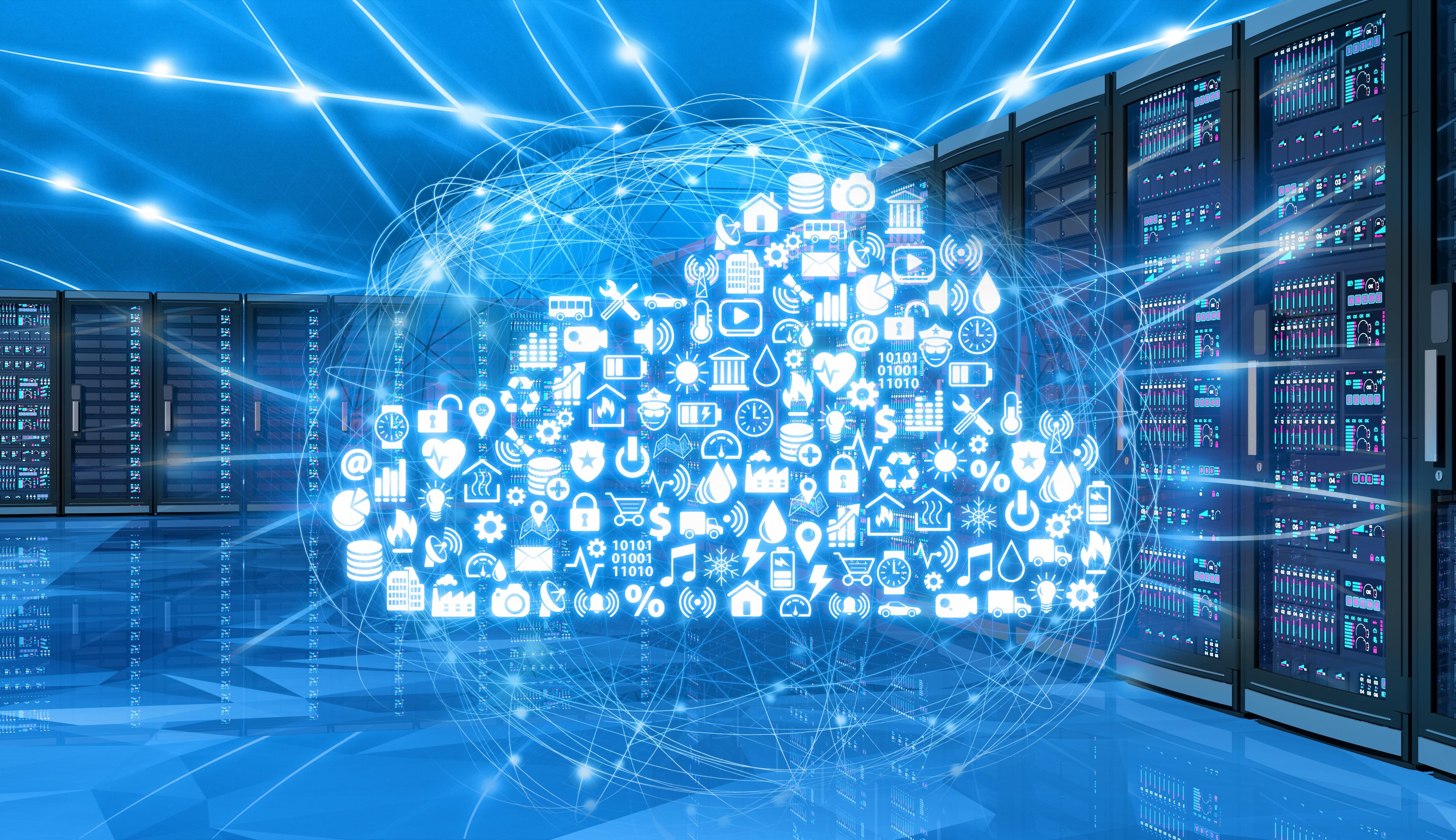 Cloud Migration von Daten in einem Serverraum